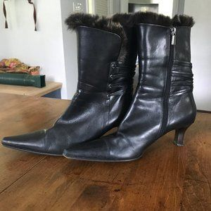 Vero Cuoio Black Leather & Rabbit Fur Lined Boots